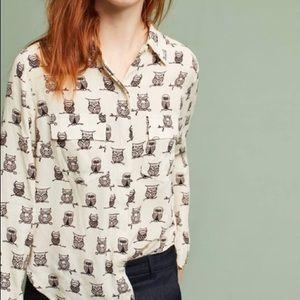 NWT! Anthropologie porridge owl button down blouse